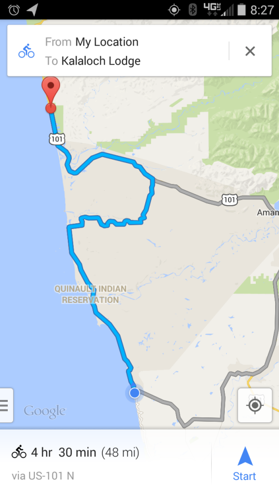 Day 5 Path, Epic Solo Bike Ride - Quinalt Indian Reservation